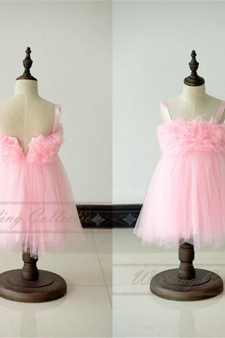 Pink Flower Girl Dress Tulle Lace Flower Girl Dress Wedding Party Dress W10