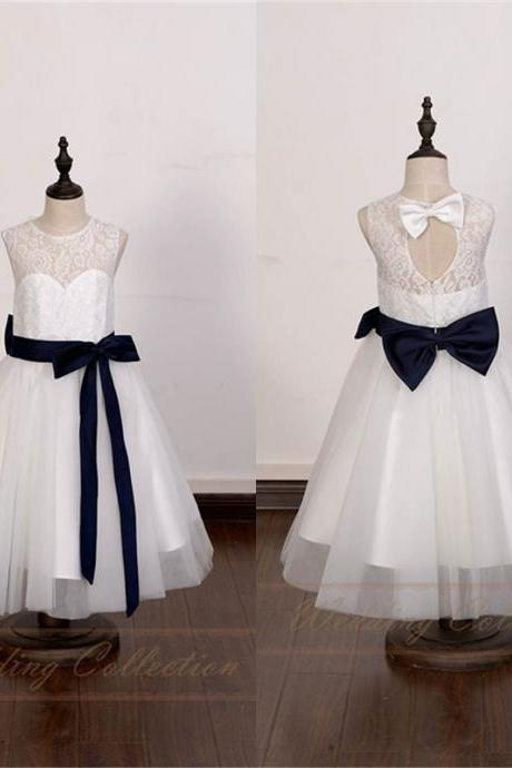 White/Ivory Lace Tulle Flower Girl Dress With Navy Sash and Bow W14
