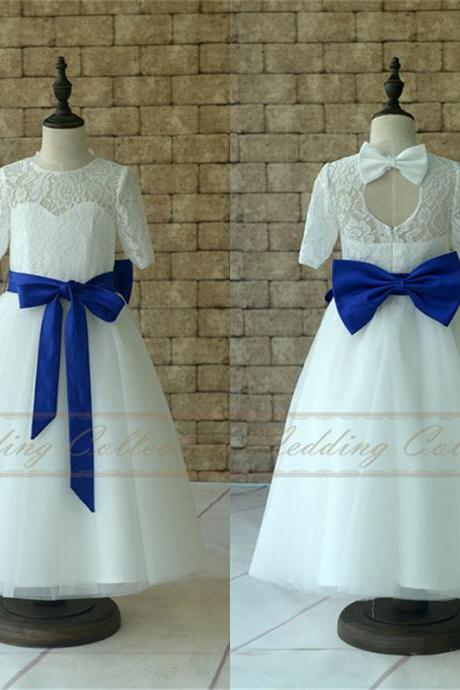 Lace Flower Girl Dresses With Sleeves, Tulle Flower Girls Dress With Royal Blue Sash and Bow W12