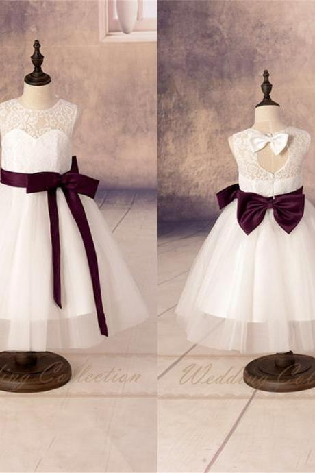 White/Ivory Flower Girls Dresses,Flower Girl Dress with Burgundy Sash and Bow W16