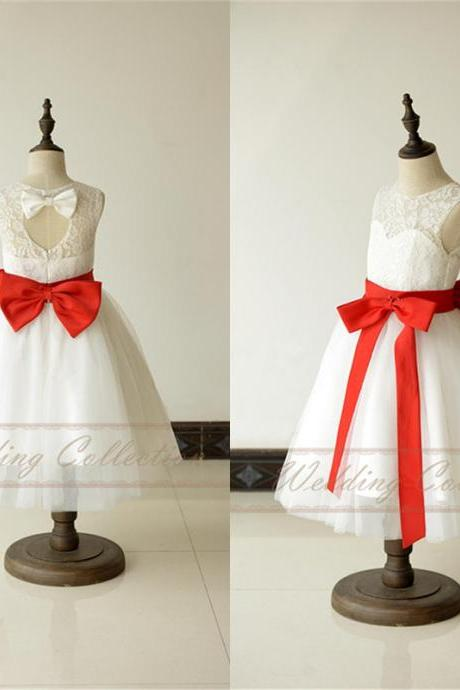 White Ivory Lace Tulle Flower Girl Dress With Elegant Red Sash and Bow W17