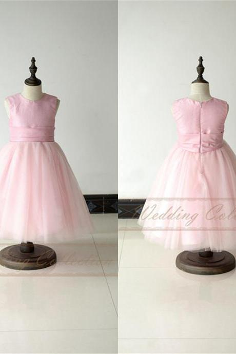 Pink Flower Girl Dress Taffeta and Tulle with Waistband Ball Gown W18