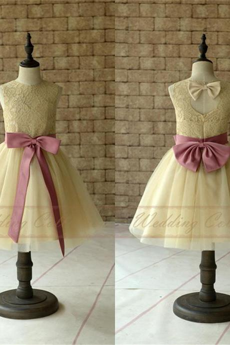 Champagne Lace Flower Girl Dresses, Tulle Flower Girls Dress With Sugar Plum Sash and Bow W22