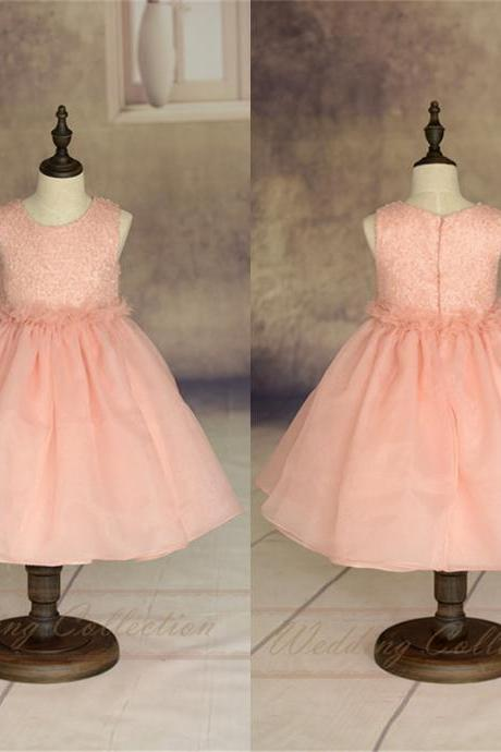 Blush Pink Flower Girl Dress Handmade Flowers Waistband Tulle Skirt W24