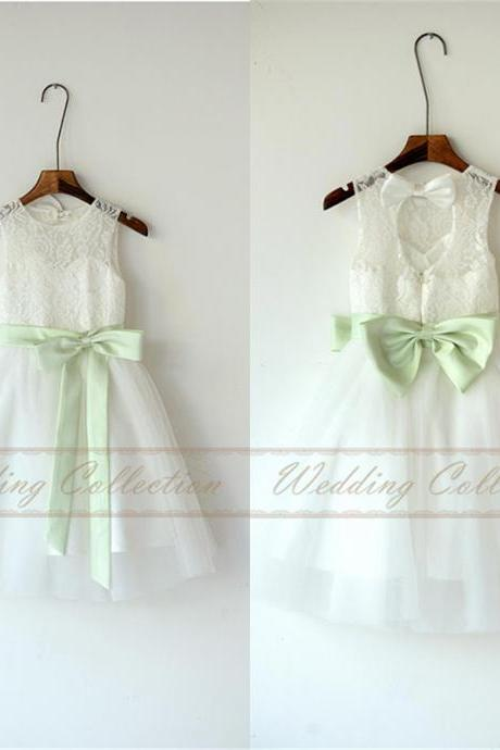 White Ivory Lace Tulle Flower Girl Dress With Mint Sash and Bow Wedding Party Dresses W28