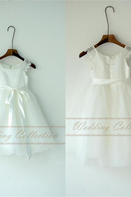 White Ivory Flower Girl Dress with Cap Sleeves Floor Length Tutu Applique Toddler Dress W32