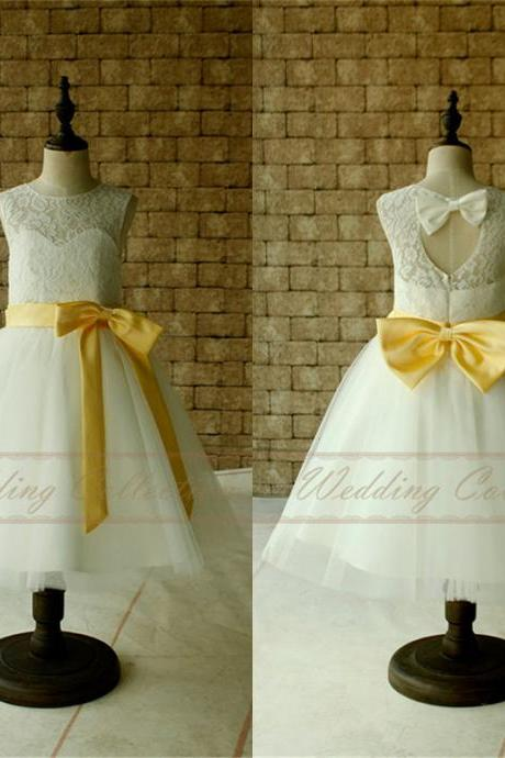 Lace Flower Girl Dresses, Tulle Flower Girls Dress With Yellow Sash and Bow W39