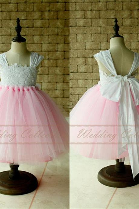 Baby Tutu Dress Birthday Party Dress Cap Sleeves Tulle Ball Gown Knee Length with Big Bow Light Pink Skirt W43