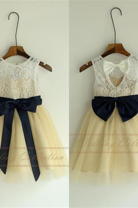 Champagned Dress with Ivory Lace Top Flower Girl Dresses, Tulle Flower Girls Dress With Navy Blue Sash and Bow W44