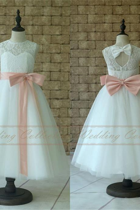White Ivory Lace Tulle Flower Girl Dress With Blush Pink Sash and Bow W48