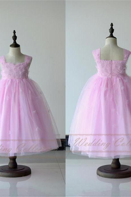 Light Pink Flower Girl Dress With Handmade Flowers and Pearls W52