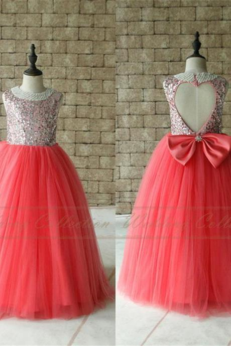 Tutu Sequined Flower Girls Dress Light Coral Birthday Party Dress Pearl Neckline Floor Length W54