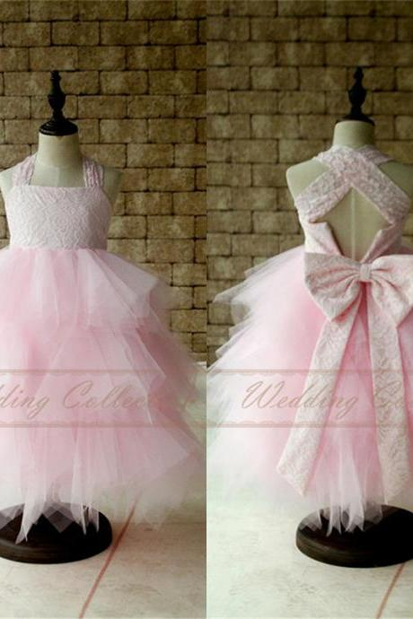 Light Pink Lace Flower Girl Dress Tutu Birthday Party Dress,Communication Dress W58