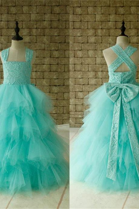 Lace Flower Girl Dress Cross Back Tulle Ball Gown Floor Length Mint Birthday Party Dress W64
