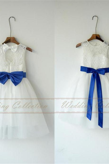 Ivory White Lace Tulle Flower Girl Dress With Royal Blue Sash and Bow W68