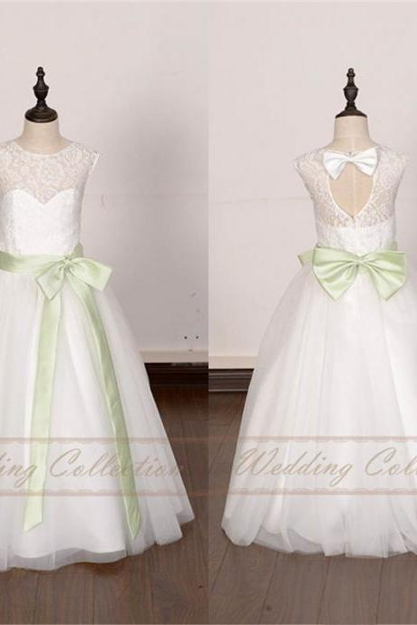 White Ivory Lace Flower Girl Dress Floor Length with Mint Green Sash and Bow W66