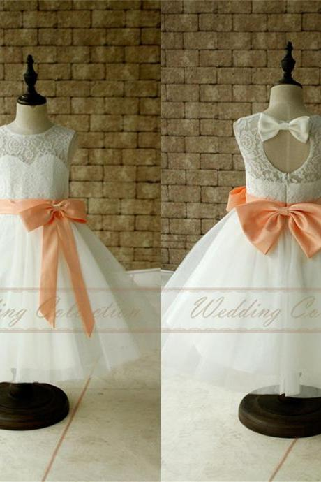 Ivory White Lace Tulle Flower Girl Dress With Peach Sash and Bow Baby Dress W75