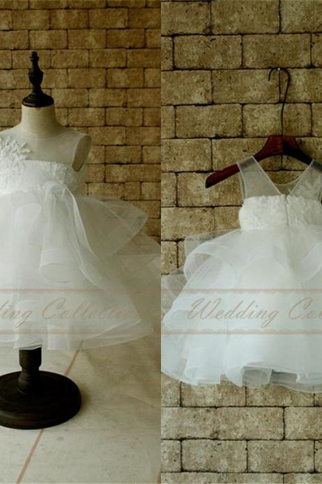 Flower Girls Gown Ivory Tutu Dress Birthday Dress for Toddler W80