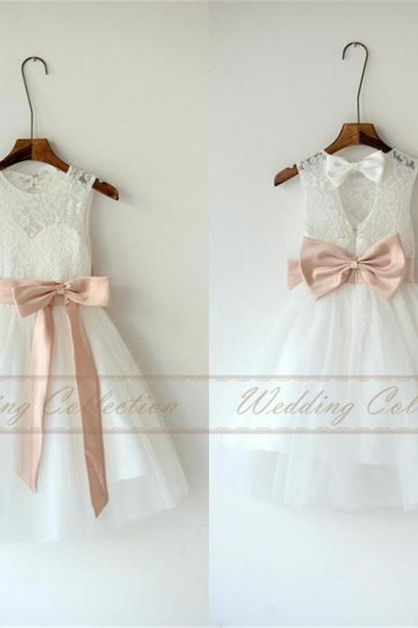 White Ivory Lace Tulle Flower Girl Dress With Blush Sash and Bow W83