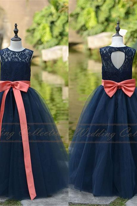 New Lace Tulle Flower Girl Dress Applique Neckline Wedding Party Dance Dress W90