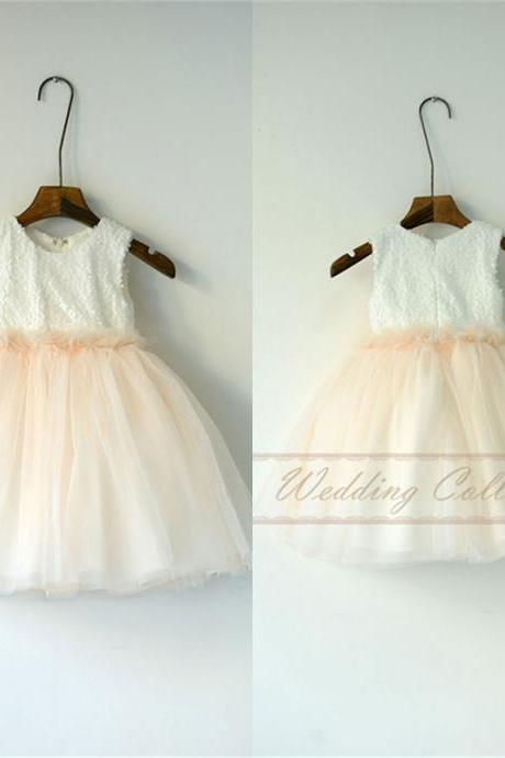 New Lace Tulle Flower Girl Dress Applique Neckline Wedding Party Dance Dress W97