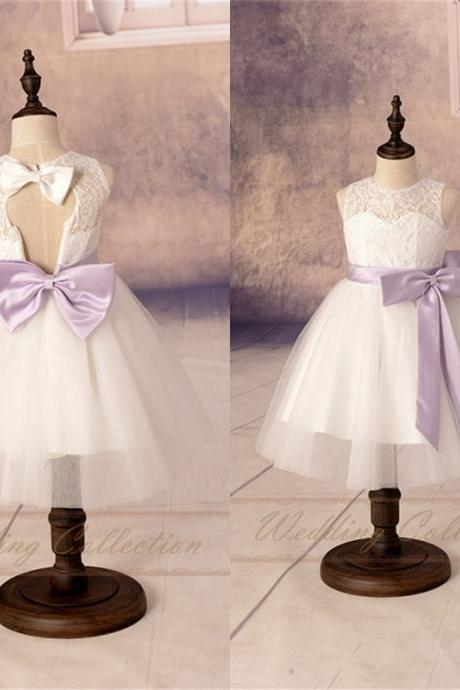 New Lace Tulle Flower Girl Dress Applique Neckline Wedding Party Dance Dress W100