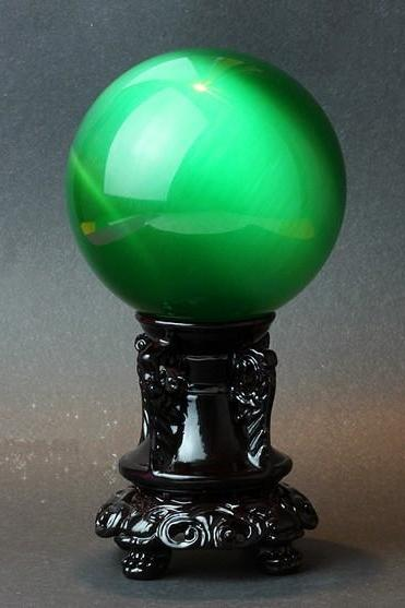 40mm Natural Green Cat Eyes Quartz Magic Crystal Healing Ball Sphere (No Stand) LH-7