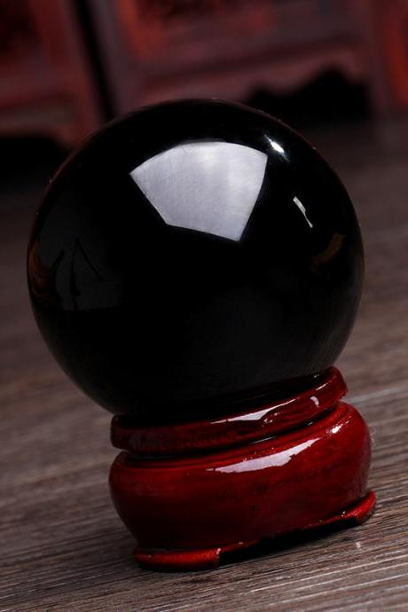 40mm Natural Obsidian Sphere Magic Crystal Healing Ball Sphere + Stand LH-22