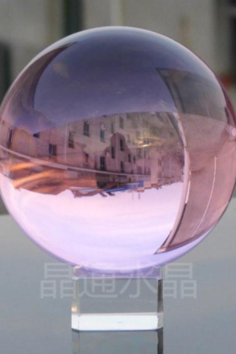 40mm Natural pimk Crystal Sphere Magic Crystal Healing Ball Sphere + Stand LH-24