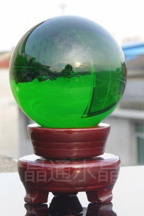 100mm Natural Green Rock Quartz Stone Magic Crystal Healing Ball Sphere + Stand LH-33