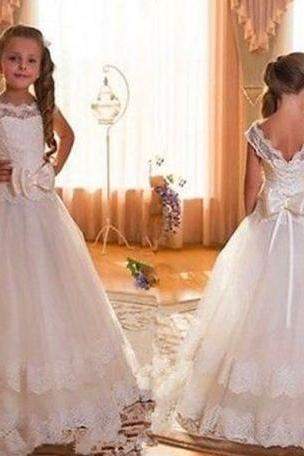 New Cap Sleeve Backless Ivory Lace Flower Girl Dresses For Weddings 2016 Bow Floor Length First Communion Dresses For Girls W121