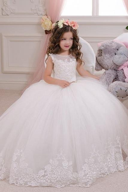 Ball Gown holy communion dresses custom made white flower girl dresses for wedding lace appliques beaded pageant gown W129