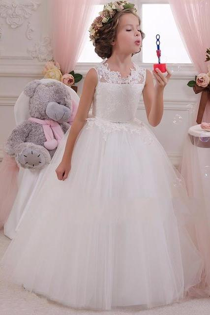 Cheap White Lace Beach Flower Girl Dresses 2016 Glitz Pageant Dresses For Little Girls First Communion Dresses For Girls W131