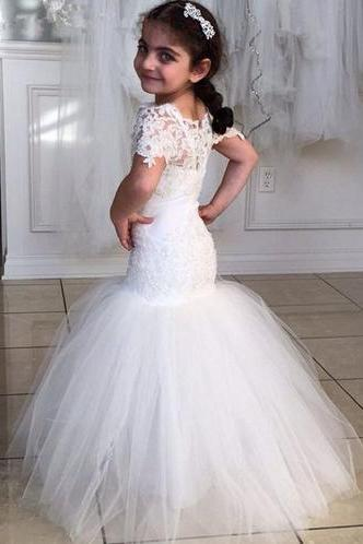 Wonderful Mermaid Flower Girls Dresses For Weddings Party Short Sleeves Lace Appliques Ruched Tulle Vestidos De Comunion 2016 W132