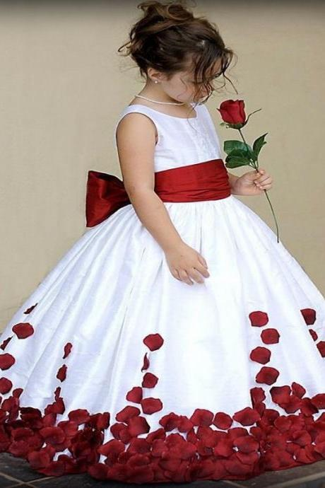 Holy Communion Dresses Red/Pink/Blue Bow Sashes Ball Gown Appliques Flower Girl Dresses For Weddings W134
