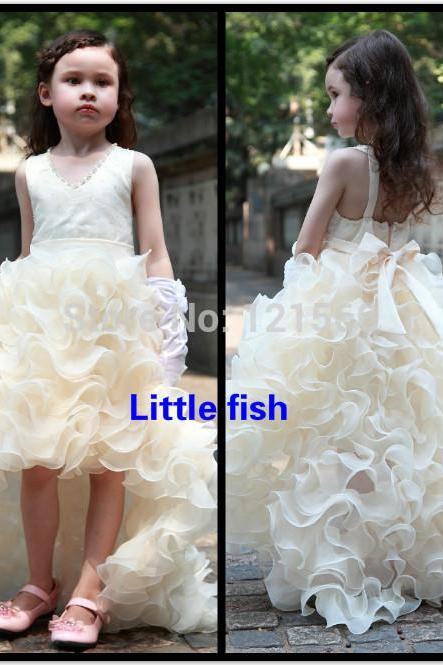 Free shipping Pageant dresses for girls glitz Elegant trailing gown designer flower girl gowns Can be custom made 2-14 age W142