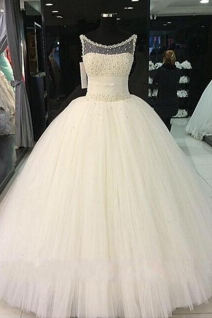 Ball Gown Real Images Vestido De Novia Tulle Wedding Dress with Pearls Bridal Dresses Robe de Marriage Wedding Gowns W156
