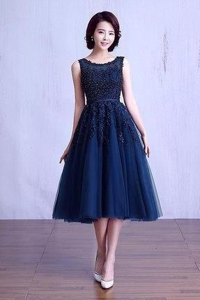 Navy Blue Beaded Lace Appliques Short Prom Dresses Robe Knee Length Party Evening Dress