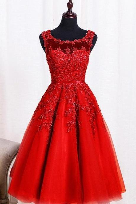 Red Beaded Lace Appliques Short Prom Dresses Robe Knee Length Party Evening Dress