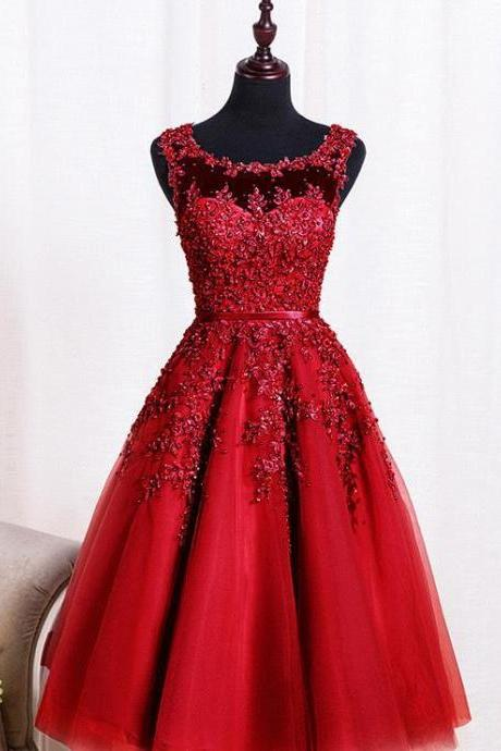 Wine Red Lace Appliques Short Prom Dresses Robe De Soiree Knee Length Party Evening Dress