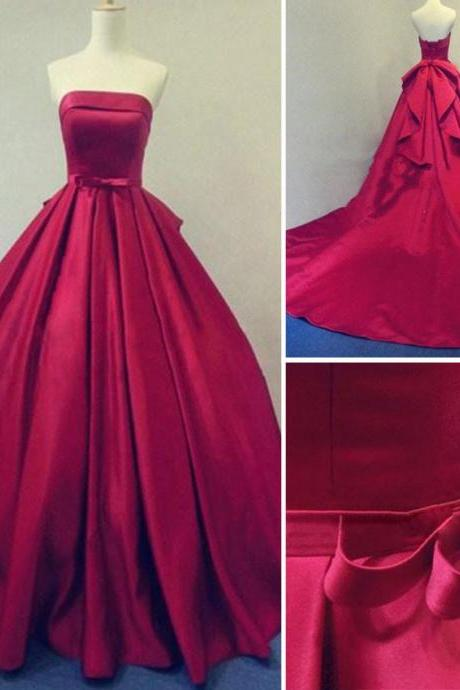 Long Burgundy Prom Dresses Ball Gowns Evening Party Gown Strapless Stain Lace-up Dress Real Photos