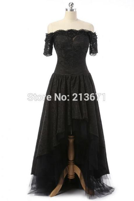 New Arrival Red Carpet Black Lace Celebrity Dresses Elegant Short Sleeve Prom Dresses