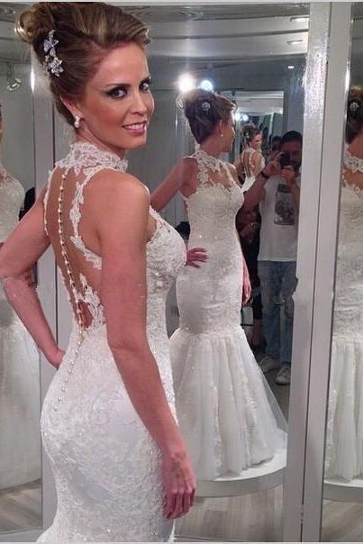 High Neck Mermaid Wedding Dresses Sheer Back Button Sweep Train Lace with Applique Sequins Bridal Gowns PP13