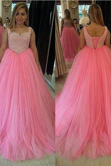 Custom Made Pink Tulle 2016 New Long Ball Gown Plus Size Prom Dresses Party Gown With Beads PP16