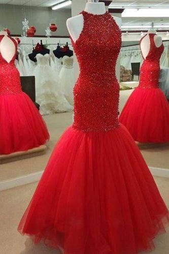 Luxury Mermaid Tulle Prom Dress Beaded Long Evening Dress Vestidos De Festa Pageant Dresses PP49