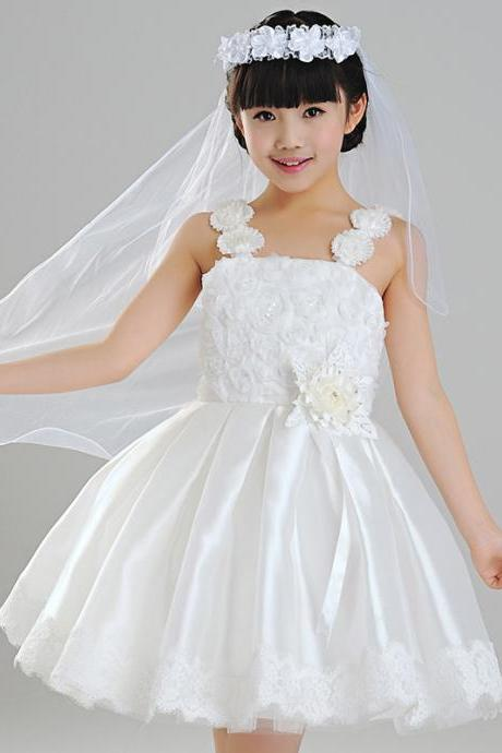 Flower Girls Dresses Ball Gown Floor Length Girls First Communion Dress Party Dress A4