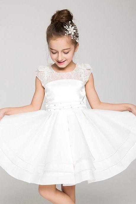 Flower Girls Dresses Ball Gown Applique Kids Girls First Communion Dress Party Dress A7