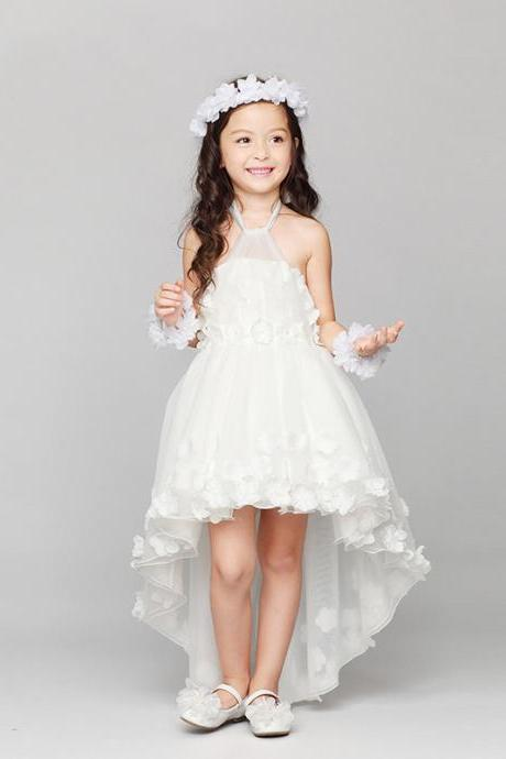 Flower Girls Dresses Hi-Lo Applique Kids Girls First Communion Dress Party Dress A8