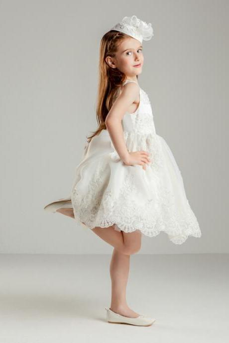 Flower Girls Dresses Ball Gown Applique Lace Princess Girls First Communion Dress Party Dress A12