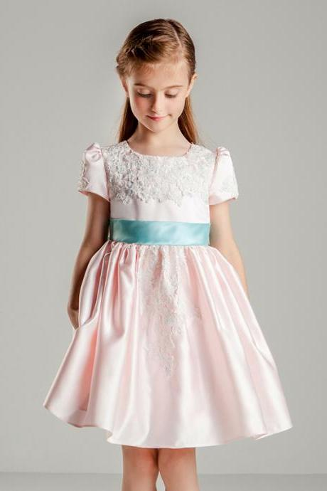 Flower Girls Dresses Lace Taffeta Kids Girls First Communion Dress Party Dress A21